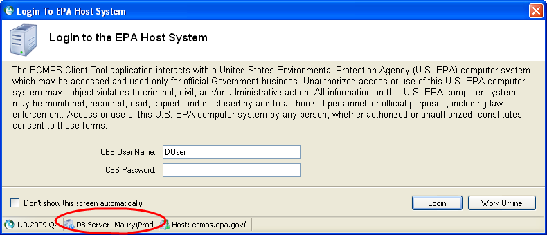 EPA Host System Login Screen with database name circled